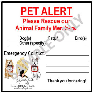 Pet PAWparedness SDI Pet Alert Sticker